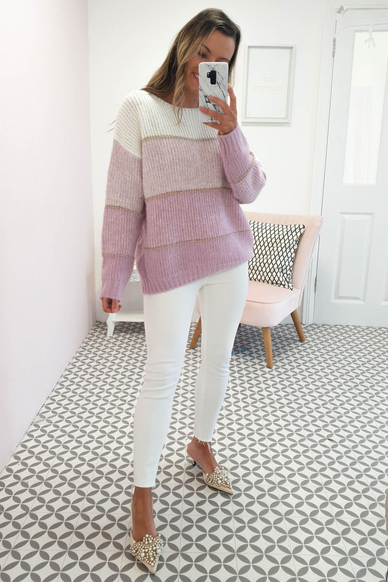 Berta Soft Stripe Jumper | Lilac