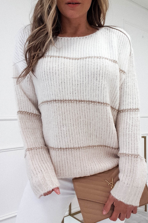 Berta Soft Stripe Jumper | Beige