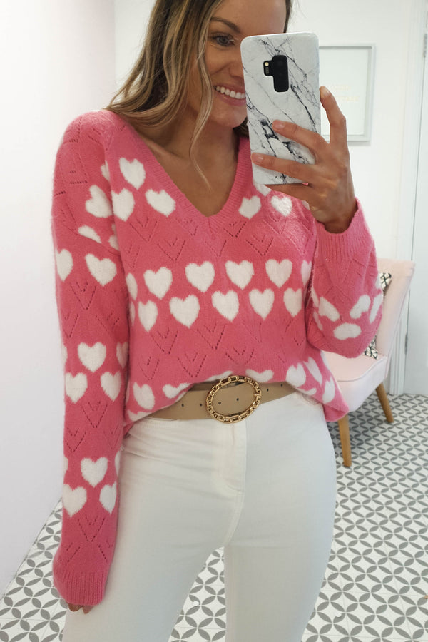 Mi Amore Jumper | Hot Pink