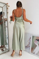 PRE-ORDER Bette Satin Midi Dress | Sage
