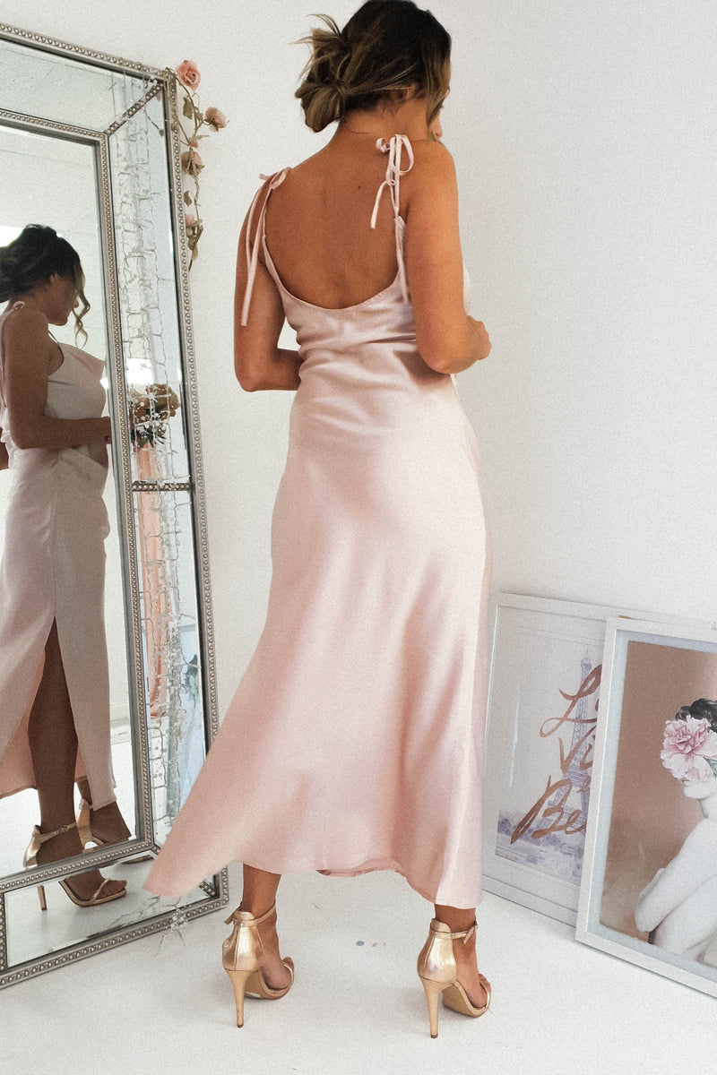 Bette Satin Midi Dress | Blush