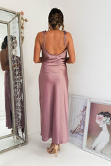 Bette Satin Midi Dress | Mauve