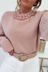 Coco Pearl Neck Jumper Rose