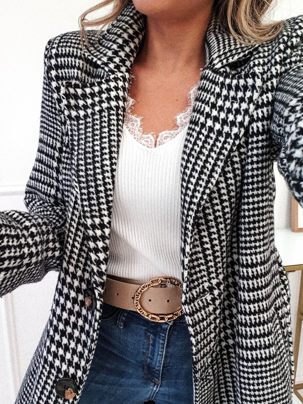 Levi Long Houndstooth Coat