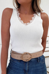 Maura Ribbed Top With Lace Detail White