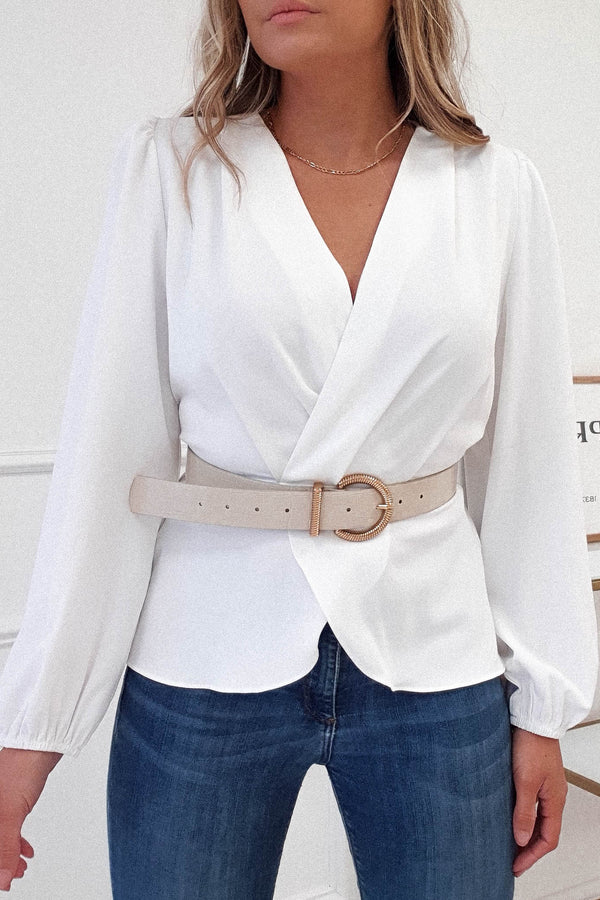 Fabien Peplum Top | White