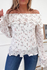 Flora Frill Off The Shoulder Top | White Print