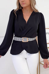 Fabien Peplum Top | Black