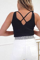 Maura Ribbed Top With Lace Detail | Black