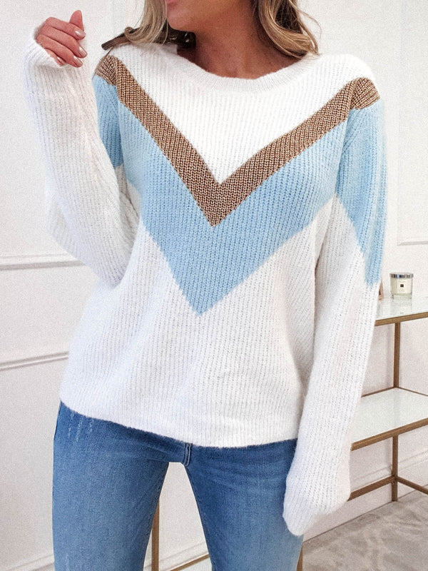 Azure Ribbed Jumper | White/Blue