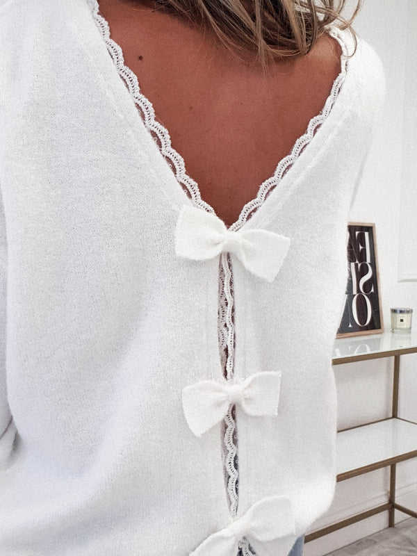 PRE-ORDER Lillie Bow Back Jumper | White