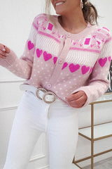 Ashley Chunky Knitted Cardigan | Pink