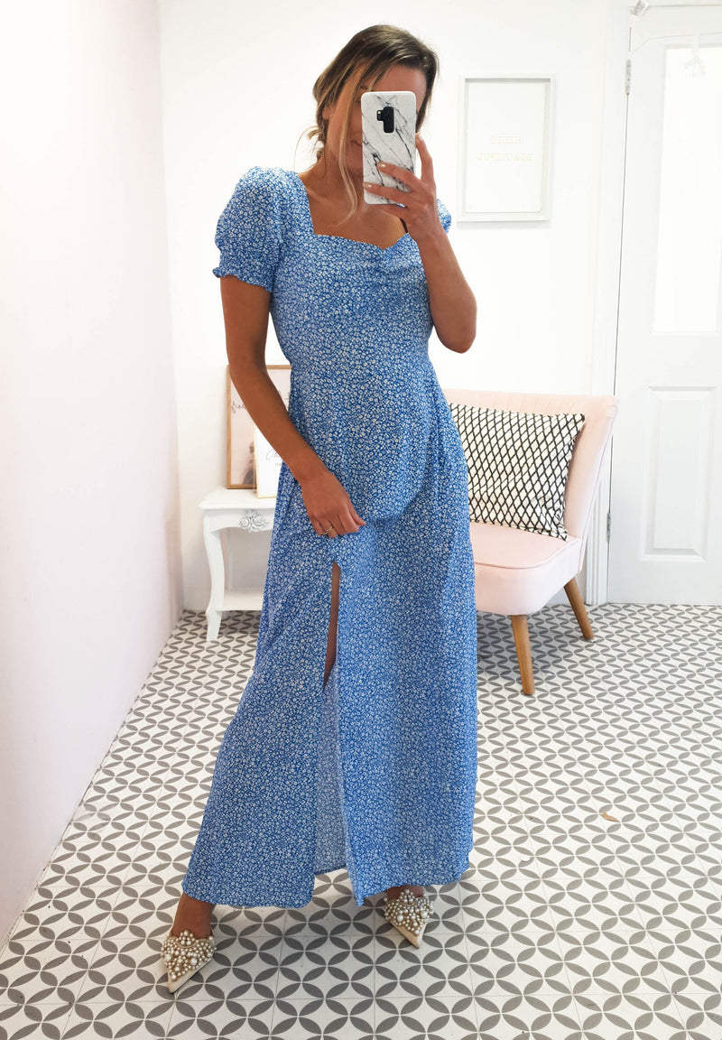 Fern Printed Maxi Dress | Royal Blue