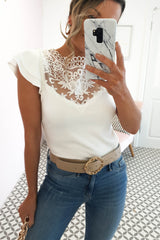 Meghan Lace Detail Top | White