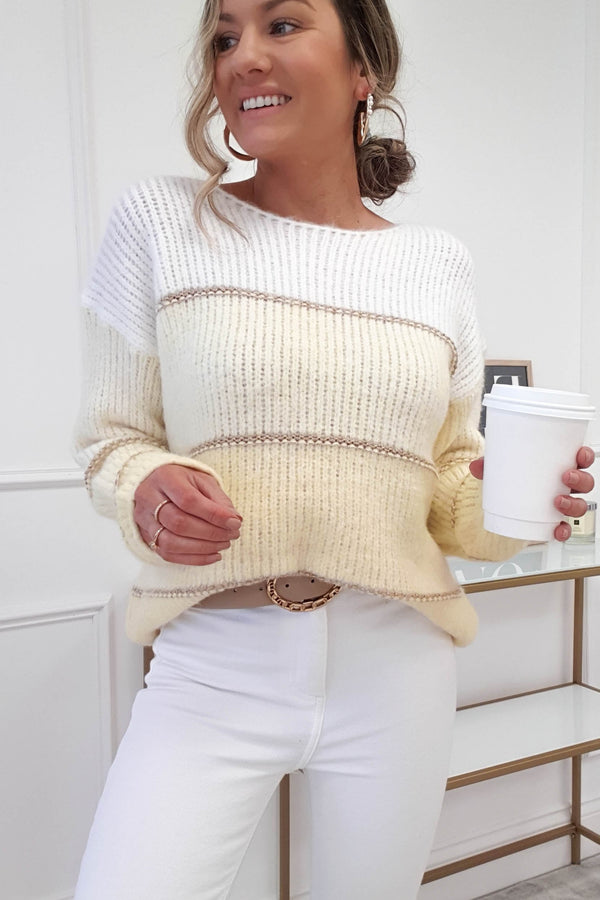 Berta Soft Stripe Jumper | Buttercup