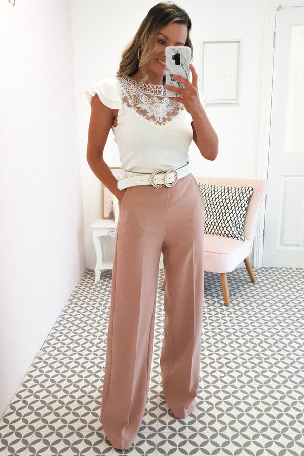 Hannah Tailored High Waisted Trousers | Peach