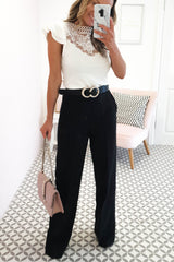 Hannah Tailored High Waisted Trousers | Black