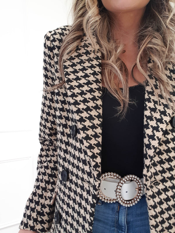 Betty Houndstooth Coat | Beige