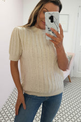 Olive Tie Back Knitted Top | Beige