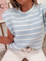 Kinsley Striped Knitted Top | Blue