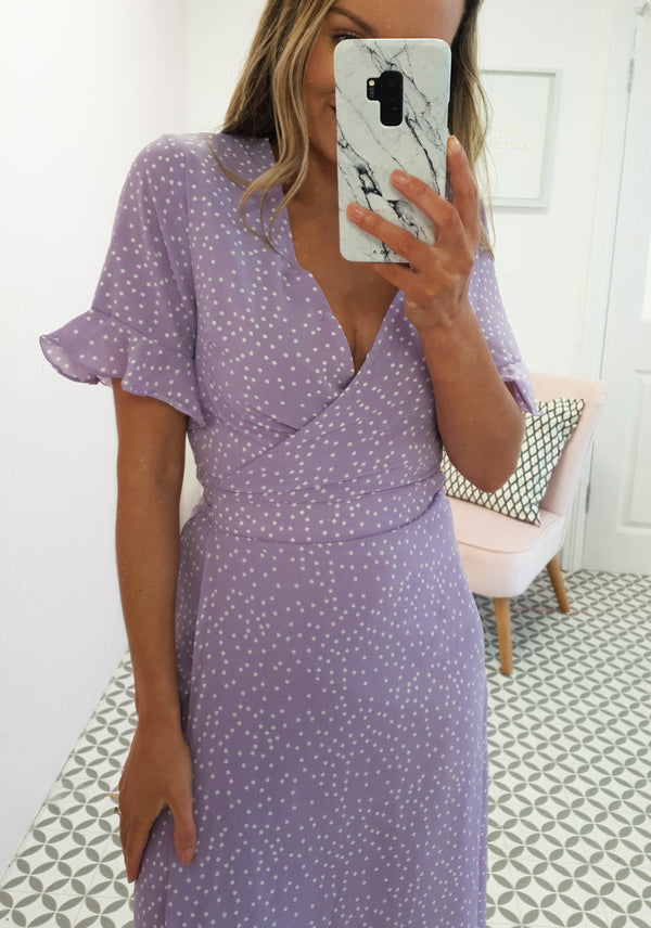 Allie Polka Dot Print Midi Dress | Lilac