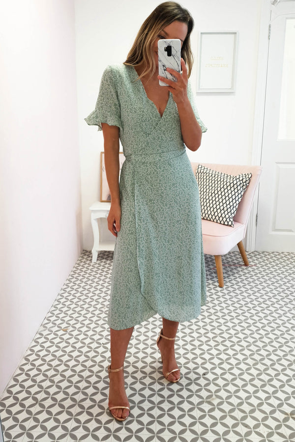 Millie Printed Midi Wrap Dress | Sage