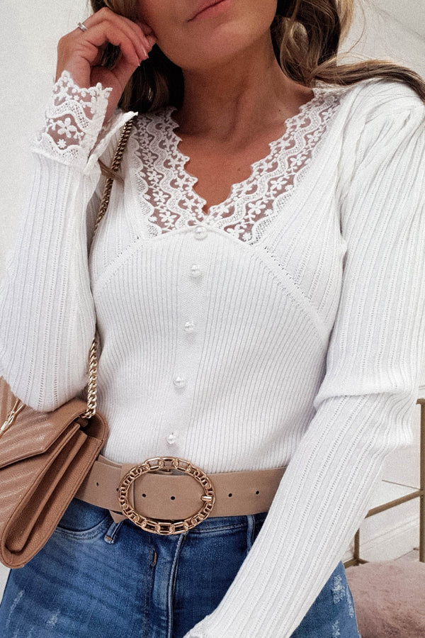 Besos Ribbed Lace Detail Top | White