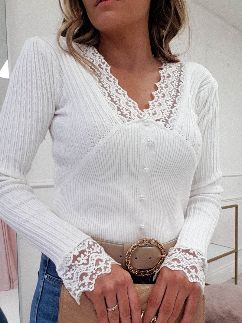 PRE-ORDER Besos Ribbed Lace Detail Top | White
