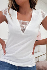 Gianna Lace Detail Top | White