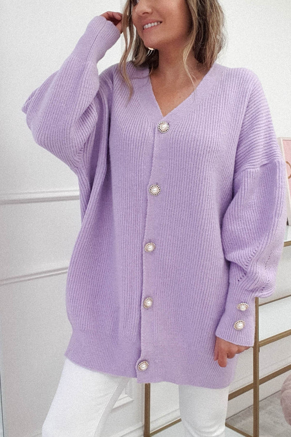 Jenny Oversized Knitted Cardigan | Lilac