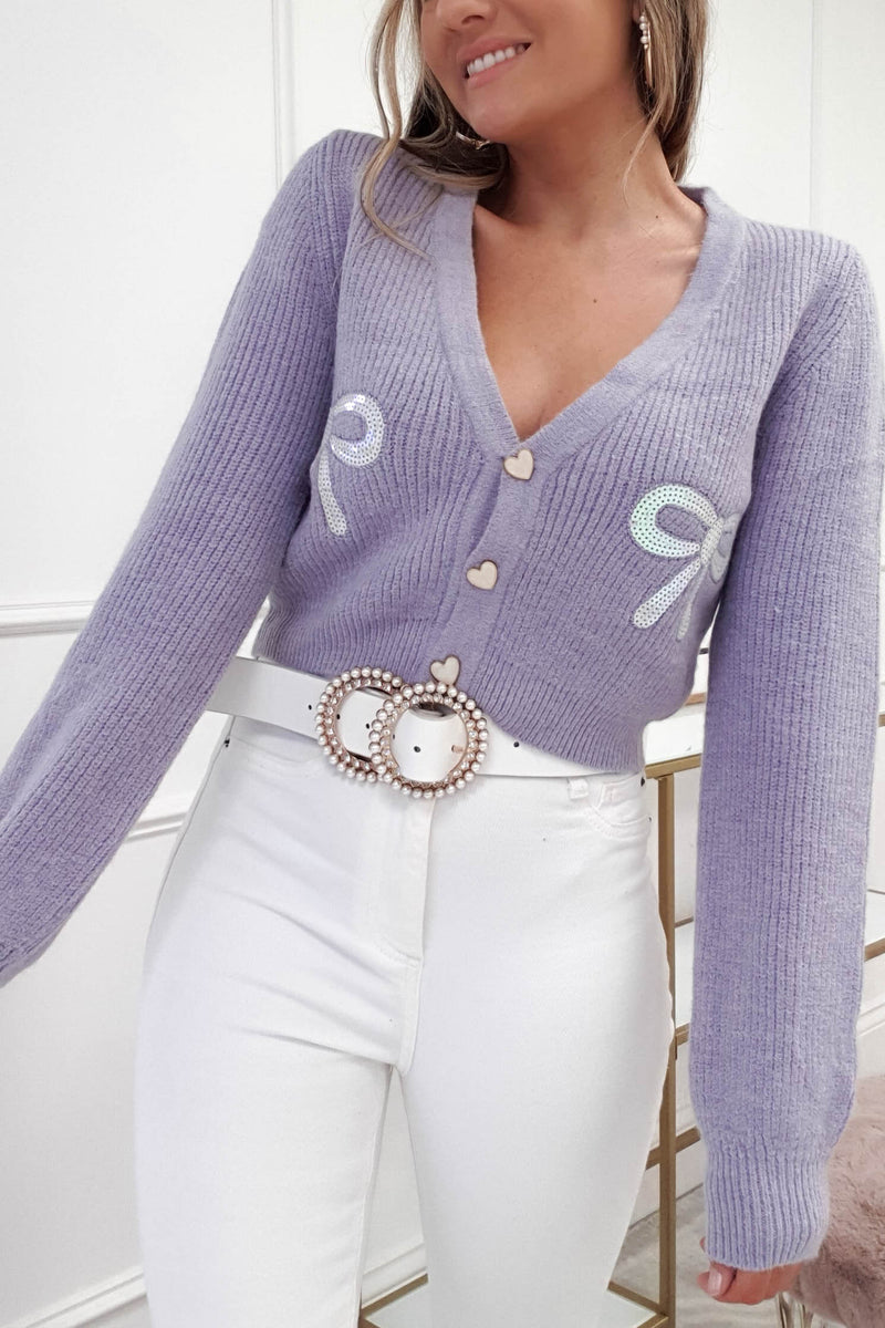 Alessandra Bow Crop Cardigan | Purple