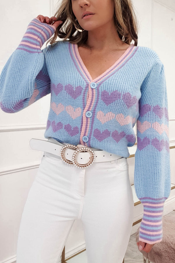 Romme Heart Cardigan| Blue