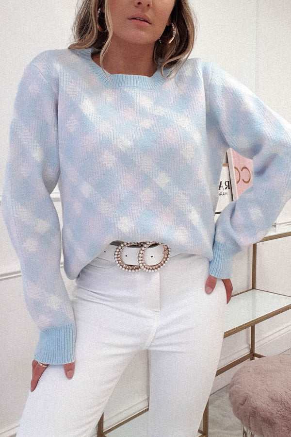 Melody Checked Jumper | Pastel Blue
