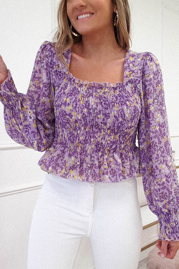 Rosa Printed Long Sleeve Top | Purple Print
