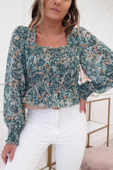 Rosa Printed Long Sleeve Top | Green Print