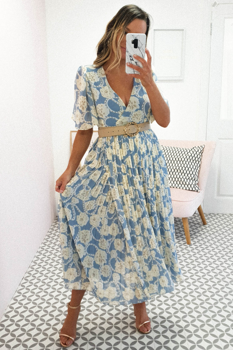 Julia Printed Midi Dress | Blue