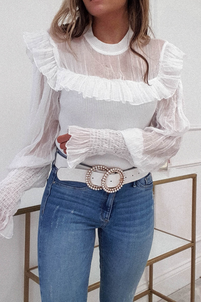 Aribella Crepe Top | White