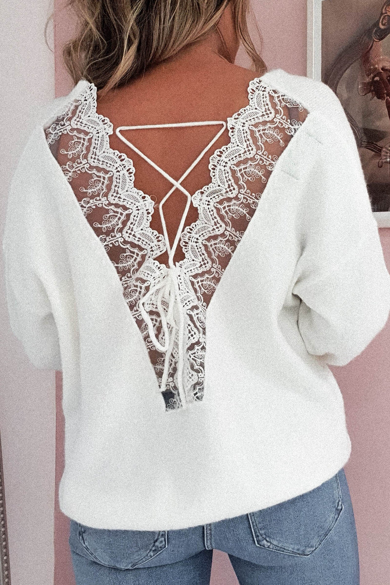 Taylor Soft Lace Detail Jumper | White
