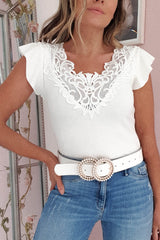 Mylie Lace Detail Top | White