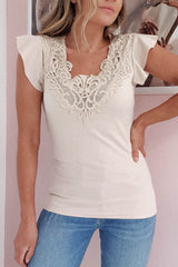 Mylie Lace Detail Top | Beige