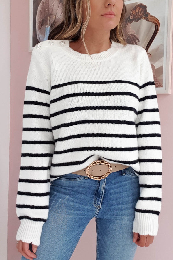 Vivian Striped Jumper | Black/White