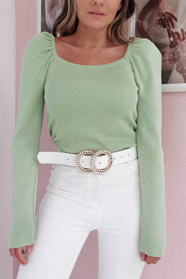Rosemarie Square Neck Top | Sage
