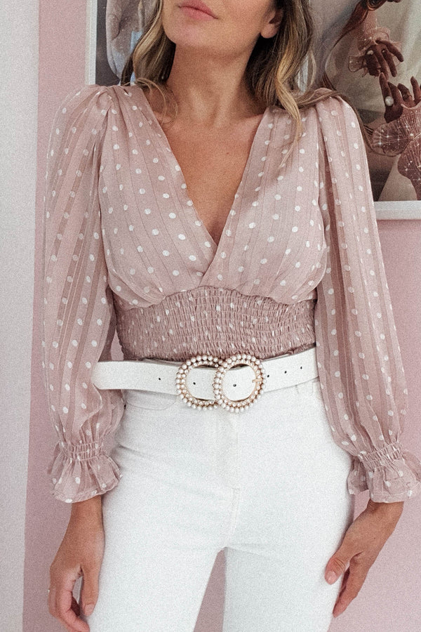 Cleo Polka Dot Top | Rose