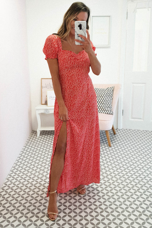 Fern Printed Maxi Dress | Red