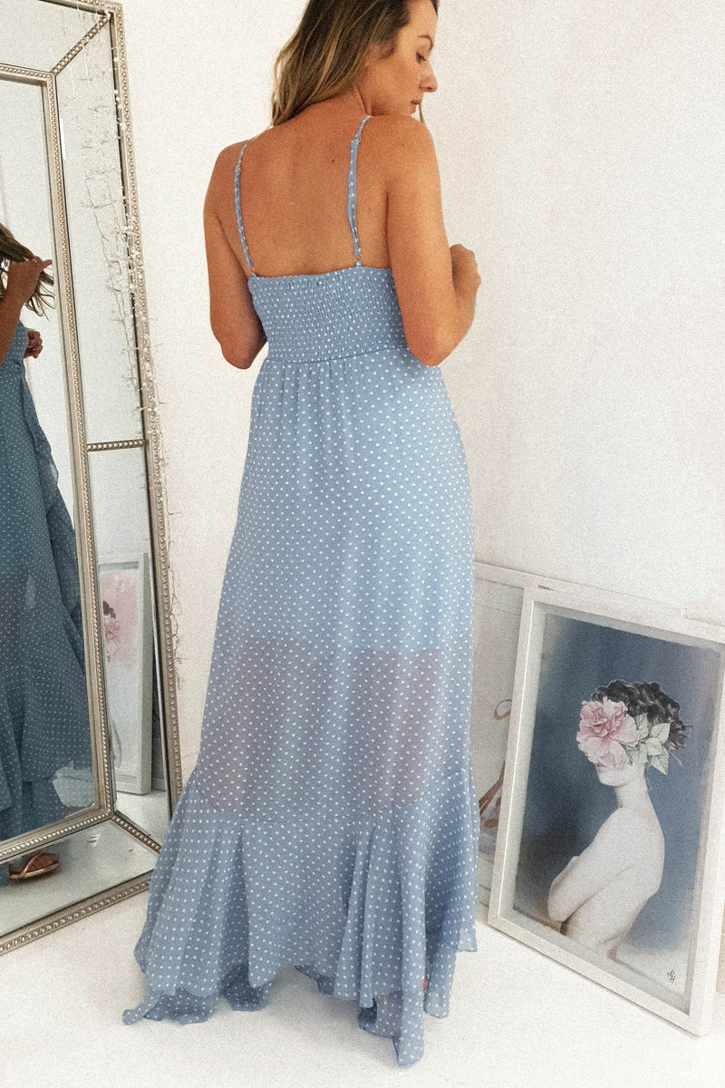 Ariel Polka Dot Maxi Dress | Blue