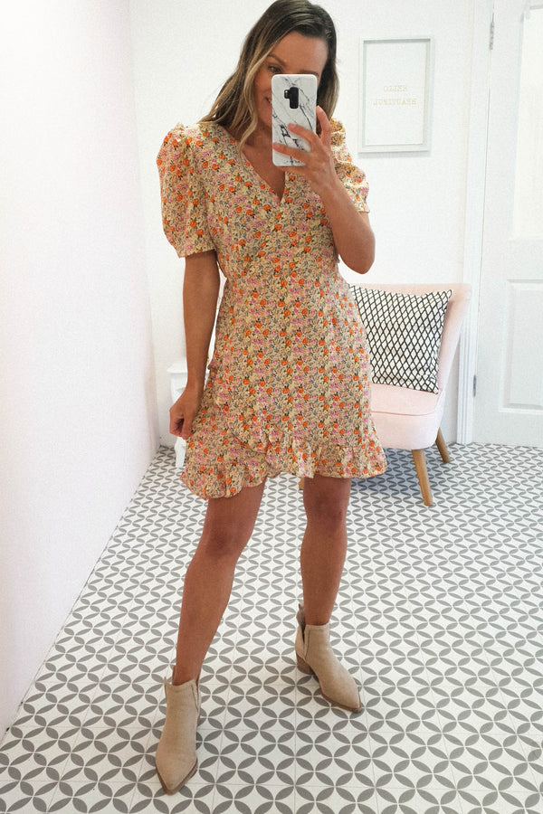 Arabella Floral Mini Dress | Orange