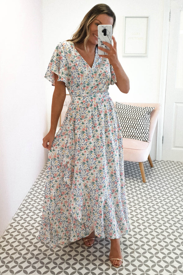 April Floral Maxi Wrap Dress | White