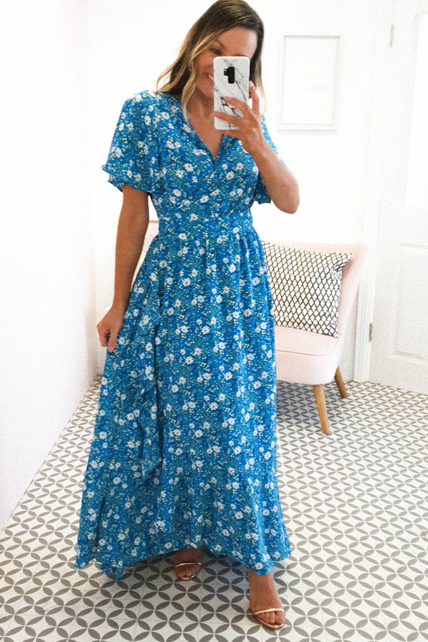 April Floral Maxi Wrap Dress | Blue