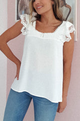 Delphine Lace Detail Top | White