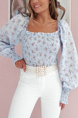 Pita Floral Print Crop Top | Blue
